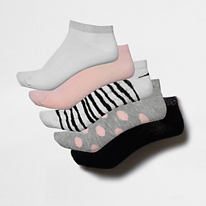 Pinke Sneakersocken mit Zebramuster und Punkten, Set