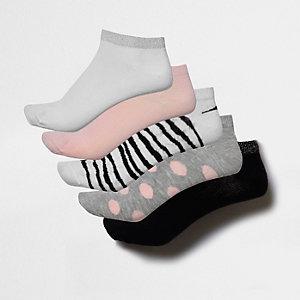 Set roze sneakersokken met zebraprint en stippen