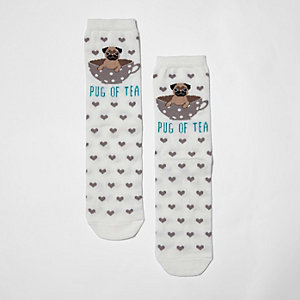 Cream 'pug of tea' heart socks