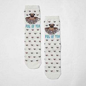 Crème sokken met 'pug of tea'- en hartprint