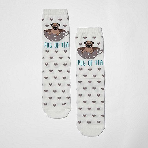 Cream 'pug of tea' heart socks