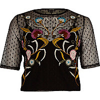 Black dobby mesh embroidered cropped T-shirt