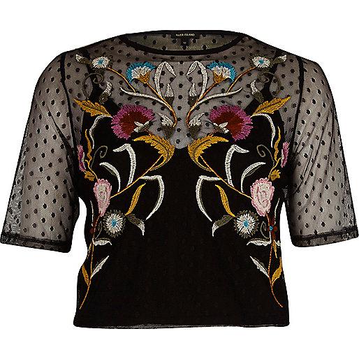 Zwart cropped T-shirt met gestippeld mesh en borduursel