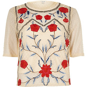 Cream dobby mesh floral embroidered T-shirt