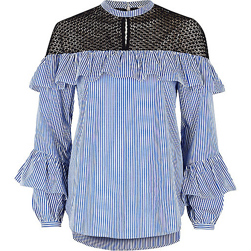 Blue stripe frill lace long sleeve top
