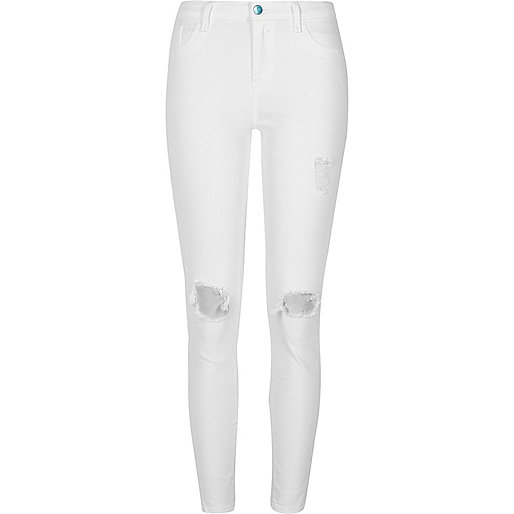 White ripped super skinny Amelie jeans