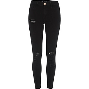 Fashion Strong – Molly – Schwarze Jeggings im Used-Look