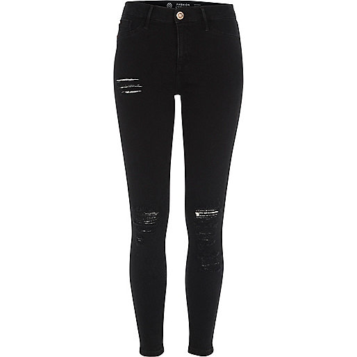 Black Fashion Strong ripped Molly jeggings