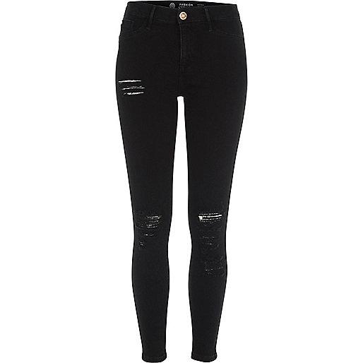 Molly – Jegging Fashion Strong noir déchiré