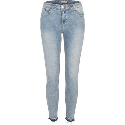 Amelie Blauwe acid wash skinny jeans