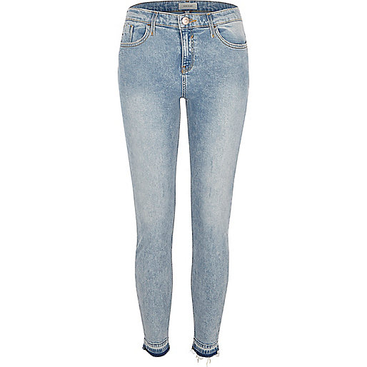 Blue acid wash Amelie super skinny jeans