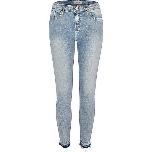 Blue acid wash Amelie super skinny jeans