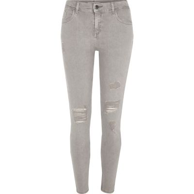 Amelie Lichtgrijze ripped superskinny jeans
