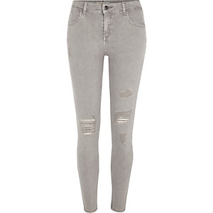 Light grey Amelie ripped super skinny jeans