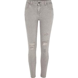 Amelie – Jean super skinny gris clair déchiré