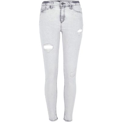 Molly Grijze acid wash ripped jegging