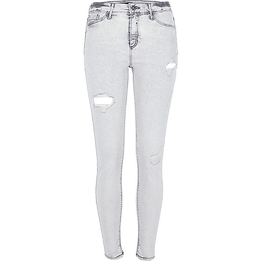 Grey acid wash Molly ripped jeggings
