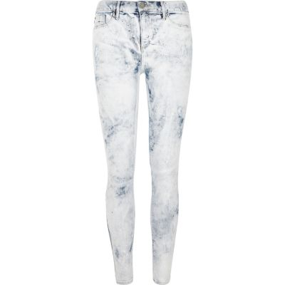 Molly Witte acid wash jegging met verfspetters