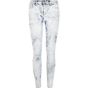 Molly - Witte acid wash jegging met verfspetters