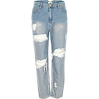 Mid blue metallic ripped Mom jeans