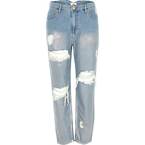 Middenblauwe metallic ripped mom jeans