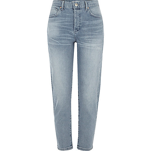 Blue authentic wash tapered jeans