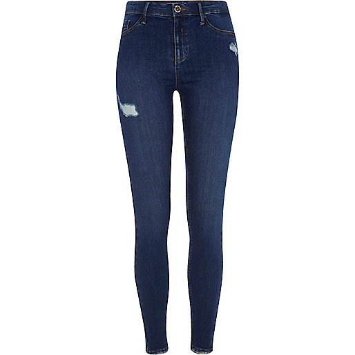 Dark blue Molly ripped skinny fit jeggings