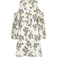 Cream floral cold shoulder dress