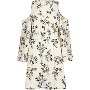 Cream floral cold shoulder puff sleeve dress