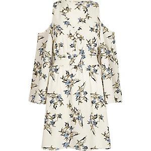 Crème schouderloze jurk met bloemenprint