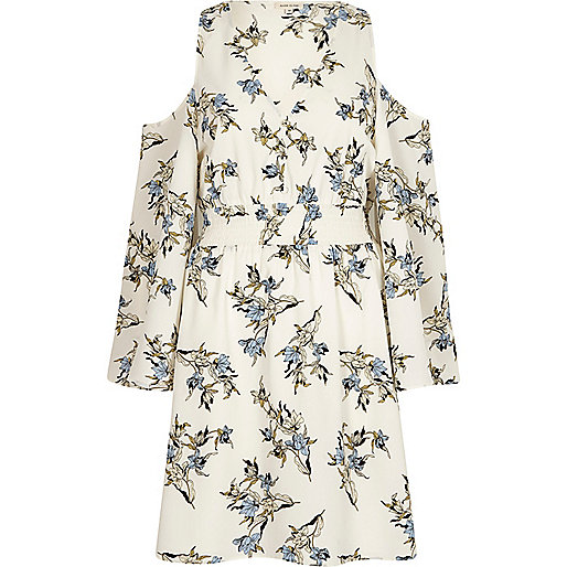 Cream floral cold shoulder dress