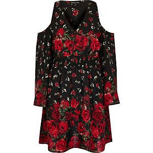 Schwarzes, geblümtes Kleid mit Schulterausschnitten