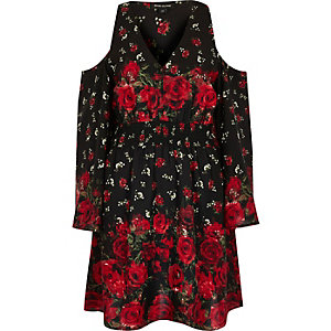 Black floral cold shoulder bell sleeve dress