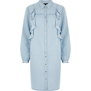 Light blue denim frill shirt dress