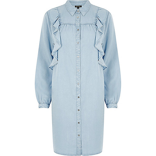 Popular Acne Women39s Siva Linen Soft Pop Shirt Dress In Light Blue In Blue