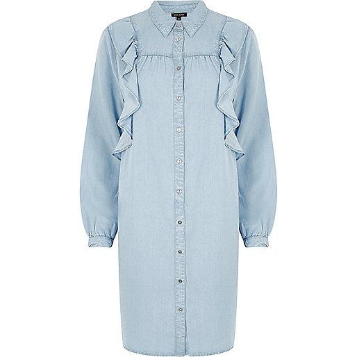 Light blue denim frill shirt dress