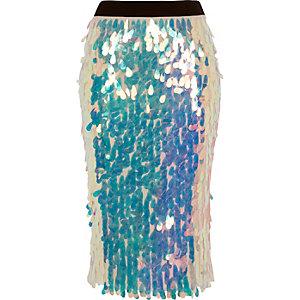 Pink iridescent sequin pencil skirt