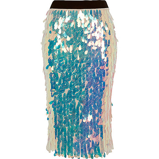 Pink iridescent sequin pencil skirt