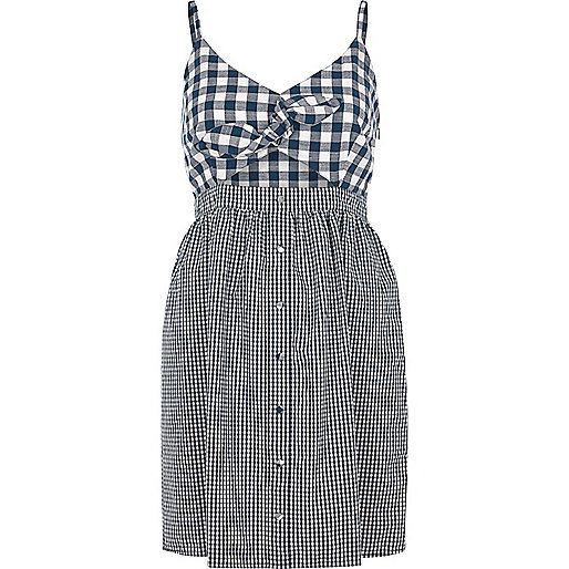 Blue gingham knot front slip cami dress