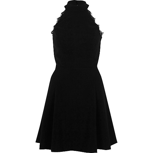 Black lace trim high neck skater dress