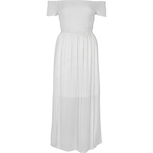 White shirred bardot maxi dress