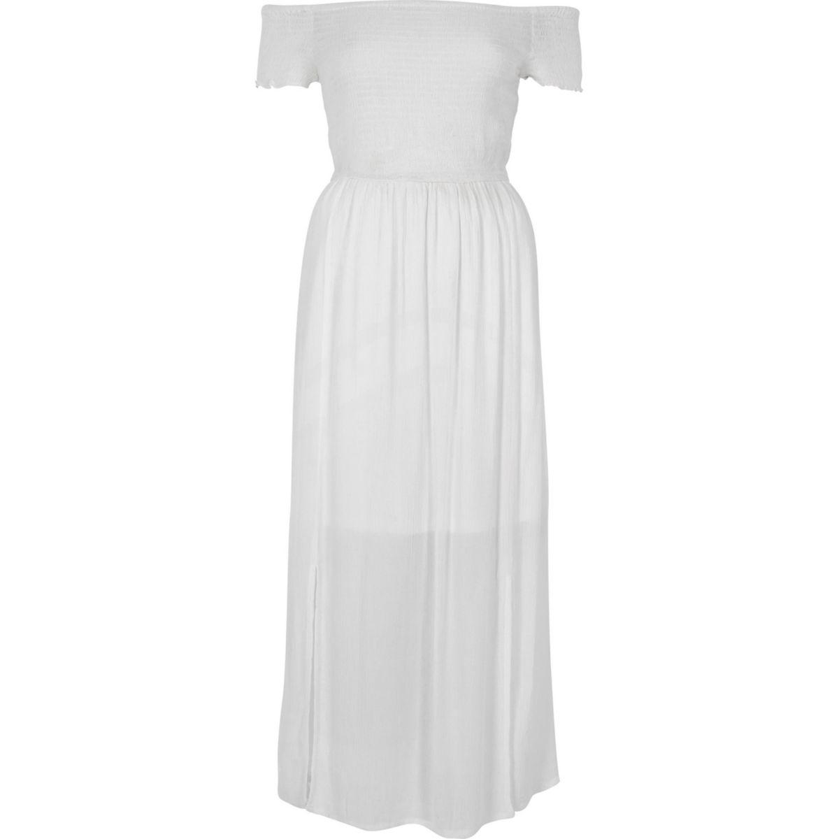 Robe longue Bardot blanche froncée