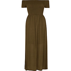 Khaki green shirred bardot maxi dress