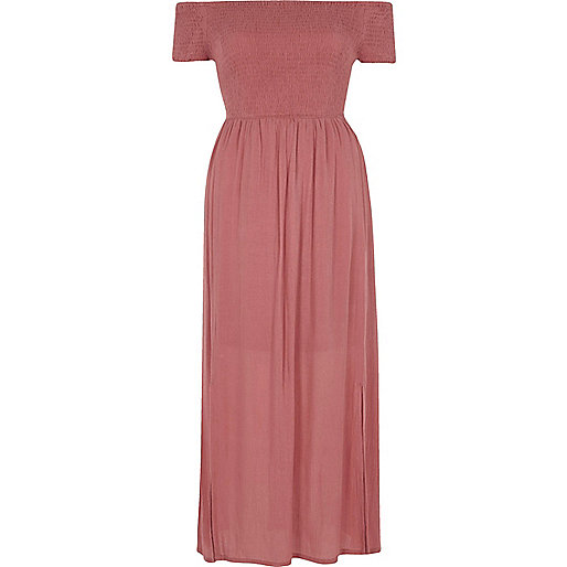 Pink shirred bardot maxi dress