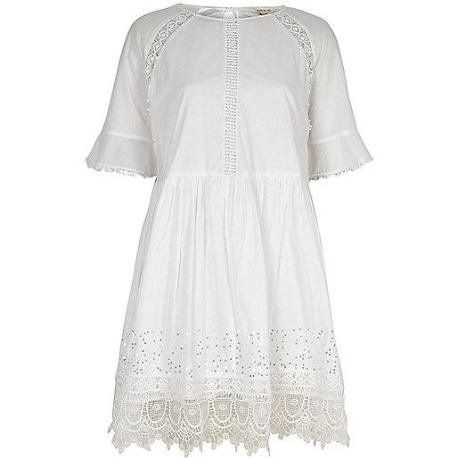 White lace trim smock dress