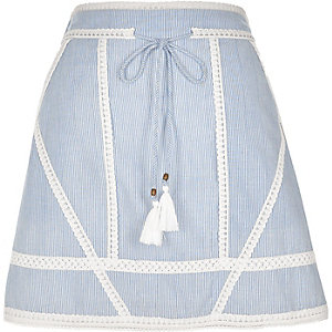 Blue stripe crochet tie waist mini skirt