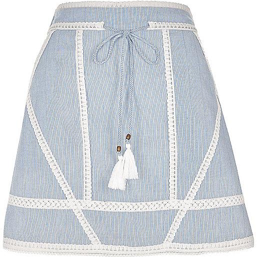 Blue stripe crochet tie waist mini skirt