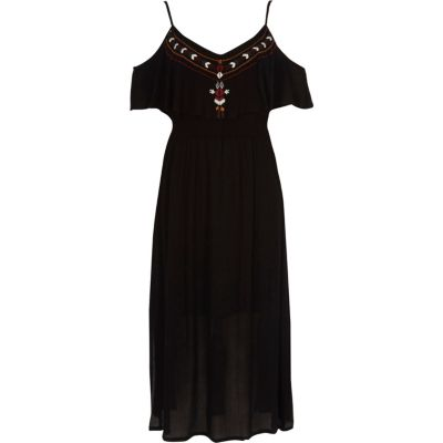 Zwarte geborduurde cami maxi-jurk met ruches