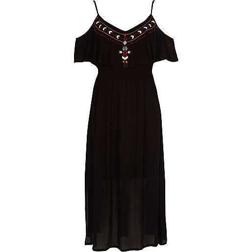 Black embroidered frill maxi cami dress