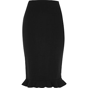 Black frill hem midi pencil skirt
